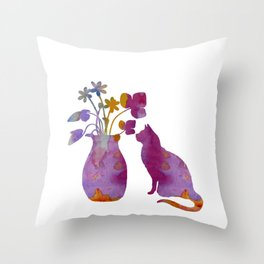 Cat and flowers Throw Pillow