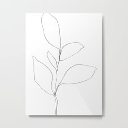Five Leaf Plant Minimalist Line Drawing Metal Print
