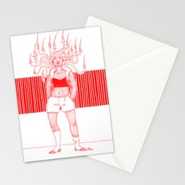 Candle Hair Red Stationery Cards