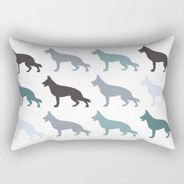 german sheppard | pattern blue Rectangular Pillow