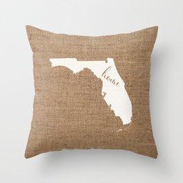 Florida is Home - White on Burlap Throw Pillow