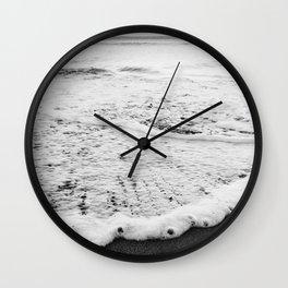 Rushing in - black white Wall Clock