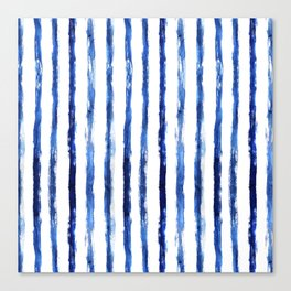 Blue painted stripes Canvas Print