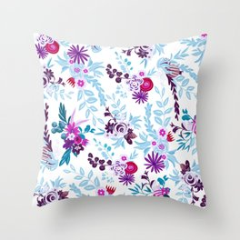 Abstract pastel blue pink country flowers pattern Throw Pillow