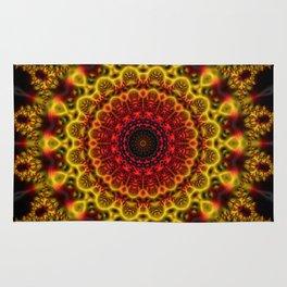 Fiery Fractal Mandala Rug