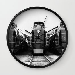 Three of a Kind Train Locomotives - Trois locomotives du même genre  Wall Clock