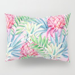 Pineapple & watercolor leaves Pillow Sham