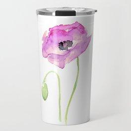 Flower Purple Poppy Floral Watercolor Travel Mug