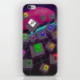 Retro 80s Synthwave Game Cartridge Collage iPhone Skin
