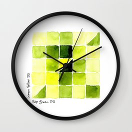 Color Chart - Lemon Yellow (DS) and Sap Green (DS) Wall Clock