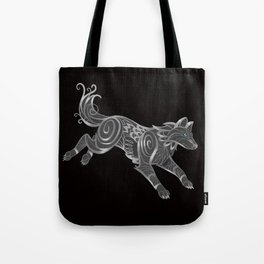 Shimmering Silver Ghost Wolf Tote Bag