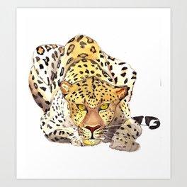 Watercolor leopard Art Print
