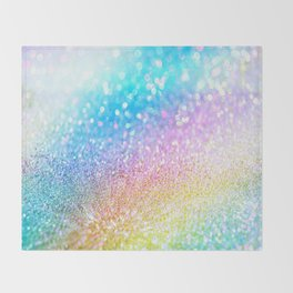 rainbow glitter Throw Blanket