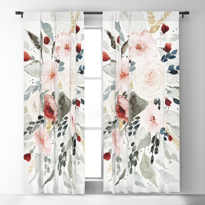 Loose Watercolor Bouquet Blackout Curtain