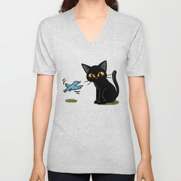 Talking with a bird Unisex V-Neck