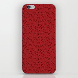 Black drawn hearts on red background iPhone Skin