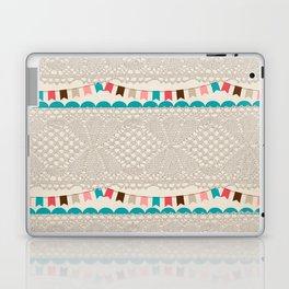 Vintage elegant ivory floral lace colorful flags pattern Laptop & iPad Skin
