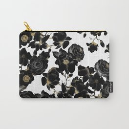 Modern Elegant Black White and Gold Floral Pattern Carry-All Pouch