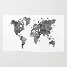 World map in watercolor gray Rug