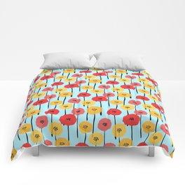 Bright Sunny Mod Poppy Flower Pattern Comforters