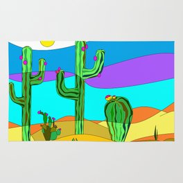 Southwest Desert Scene with Cactus and Sun Rug