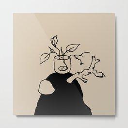 Plants and meditation - Linen Metal Print