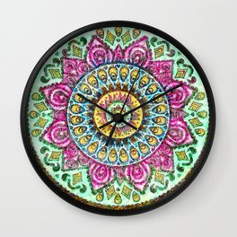 Mandala Technicolor Wall Clock