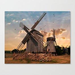 Traditonal dutch windmills at sunrise Canvas Print