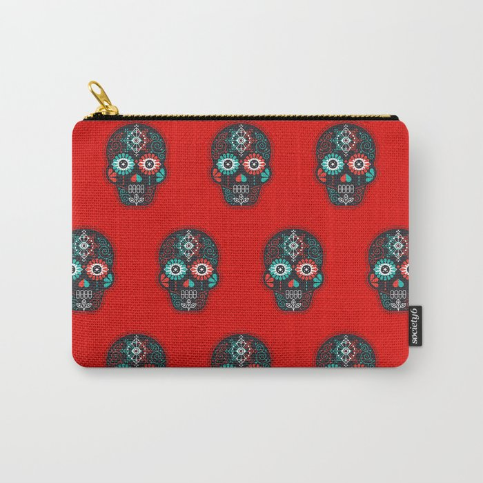 Día de Muertos Calavera • Mexican Sugar Skull – Black & Turquoise on Red Starburst Carry-All Pouch