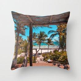 Cabana view of the Beach (Color) Throw Pillow