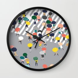 Crossing The Street on a Rainy Day - Grey Wall Clock