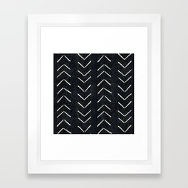 Mudcloth Big Arrows in Black and White Framed Art Print
