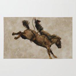 Western-style Bucking Bronco Cowboy Rug