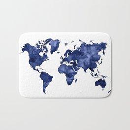 Dark navy blue watercolor world map Bath Mat
