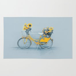 Yellow vintage bike with sunflowers Rug