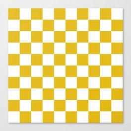 Mustard Yellow Checkers Pattern Canvas Print