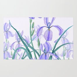 purple iris watercolor Rug