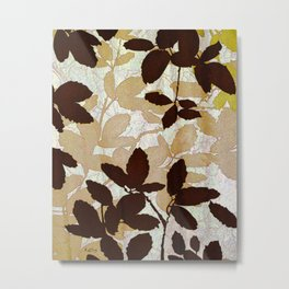 Leaf abstract wall art, earth tone colors Metal Print