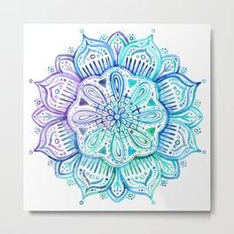 Iridescent Aqua and Purple Watercolor Mandala Metal Print
