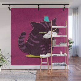 cat and bird Wall Mural