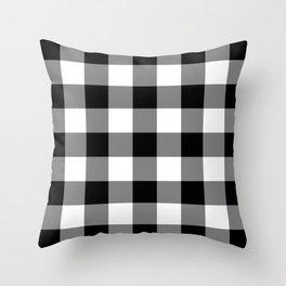 Black and White Buffalo Plaid Throw Pillow