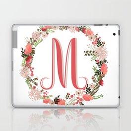 Personal monogram letter 'M' flower wreath Laptop & iPad Skin