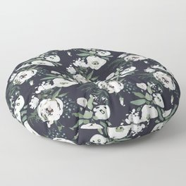 Blush pink white green black watercolor modern floral Floor Pillow