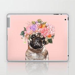 Pug with Flower Crown Laptop & iPad Skin