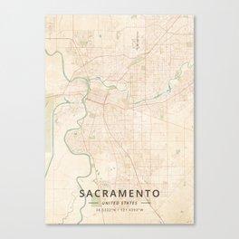 Sacramento, United States - Vintage Map Canvas Print