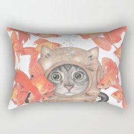 Scuba Cat Among the Fishes Rectangular Pillow