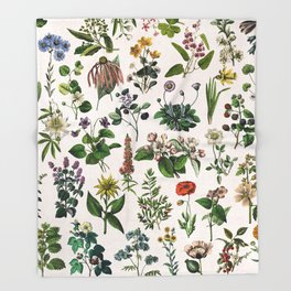 vintage botanical print Throw Blanket