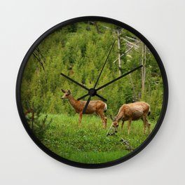Wapiti In Yellowstone N P Wall Clock