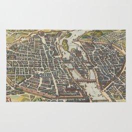 Vintage Map of Paris France (1655) Rug