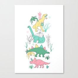 Christmas dinosaurs. Canvas Print